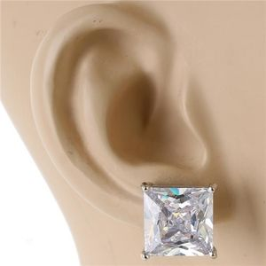 Silver 12mm Crystal Cubic Zirconia Square Earrings